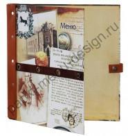 Папка меню с кожаными вставками (Арт. О - 12)
